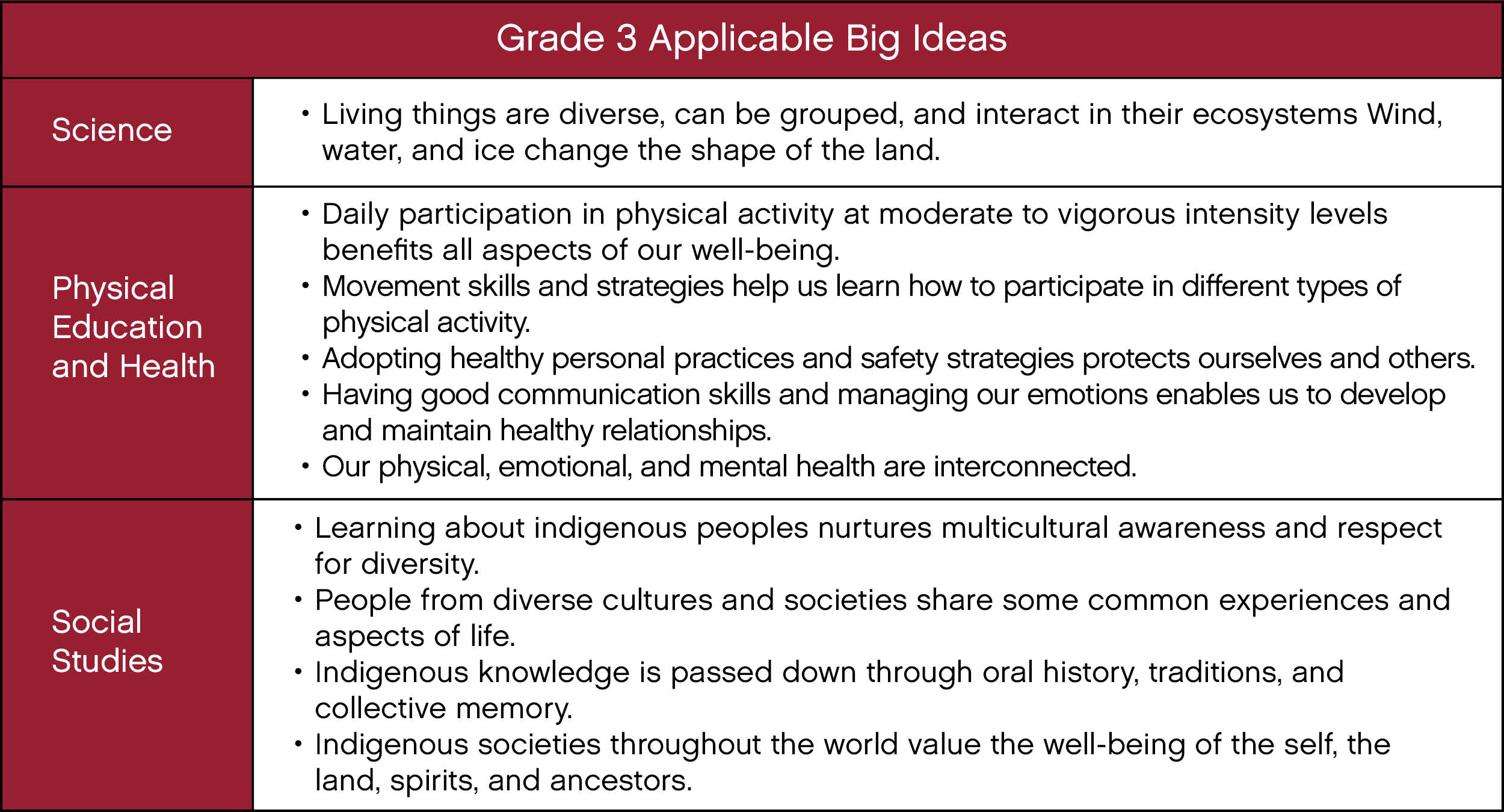 grade 3 big ideas