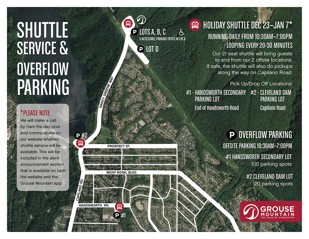 shuttle service and overflow parking map
